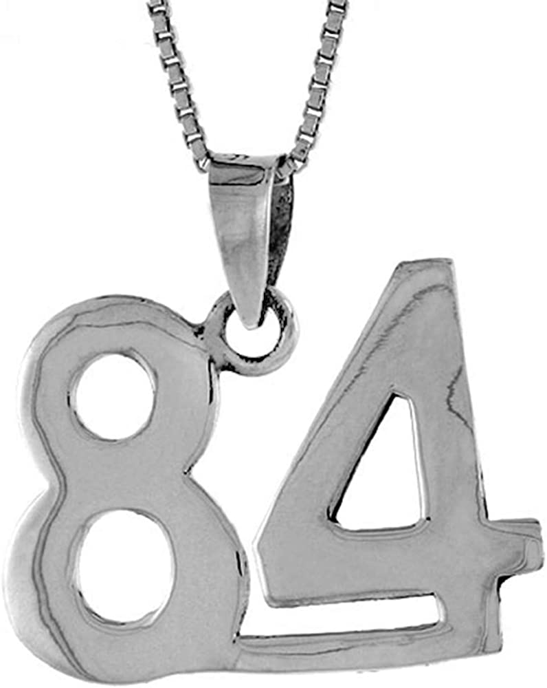 Sterling Silver Number 51 Necklace for Jersey Numbers /& Recovery High Polish 3//4 inch 2mm Curb Chain