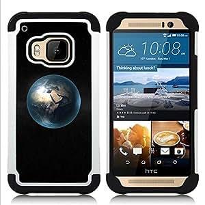 - Space Planet Minimalist Bubble/ H??brido 3in1 Deluxe Impreso duro Soft Alto Impacto caja de la armadura Defender - SHIMIN CAO - For HTC ONE M9