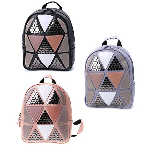 Preppy Black Style JAGENIE Backpack Rucksack Pink Travel Geometric Patchwork Girls Bag Women School 7dTST