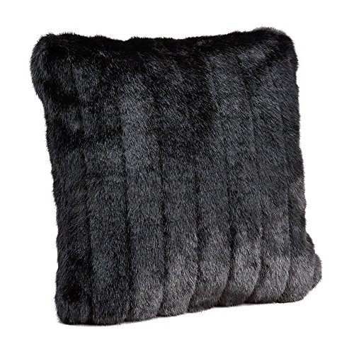 Fabulous Furs: Faux Fur Luxury Pillow, Black Mink, Available in standard size 18