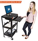 AV Cart on Wheels by Stand Steady - Includes Three Height Adjustable Shelves & Pullout Keyboard Tray! 15 ft Power Cord with Cord Management Included! Easy to Assemble! (42x24x18) (AV Cart - Black)
