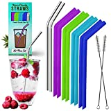 Reusable Stainless Steel and Silicone Straws - Metal and Smoothie Drinking Straw Bundle with Cleaning Brush - Perfect for 30 oz Tumbler - Portable BPA Free Eco Friendly Non Plastic Long Bendy Straw