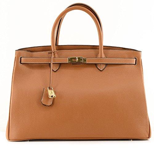 ROUVEN cammello marrone & Gold ICONE 40 CITY Tote Bag Borsa delle signore di sacchetto di cuoio della borsa nobile moderno minimal chic NUOVO DESIGN (40x28x19cm)