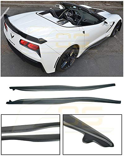 Skirts Speed Side (Z06's Z07 Performance Package Style ABS Plastic Rocker Panel Side Skirts Splitter Extension For 14-Up Corvette C7 Stingray Base 2014 2015 2016 2017 14 15 16 17 Z06)