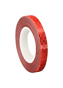 "3M 3432 Red Micro Prismatic Sheeting Reflective Tape, 0.5"" width x 5yd length (1 roll)"
