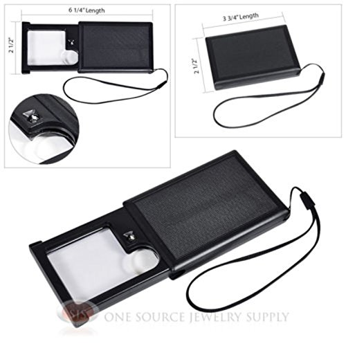 Slide-Out Pocket Magnifier Illuminated Magnifying Lens 4X Power LED (4x Spot Lens)
