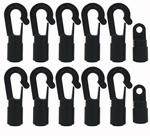 "YYST 10 Pcs Bungee/Shock Cord Hook Fixed End Tabbed S Hooks for 1/4"" (6MM) Bungee to Use on Kayaks (Bendy 10 Pcs)"