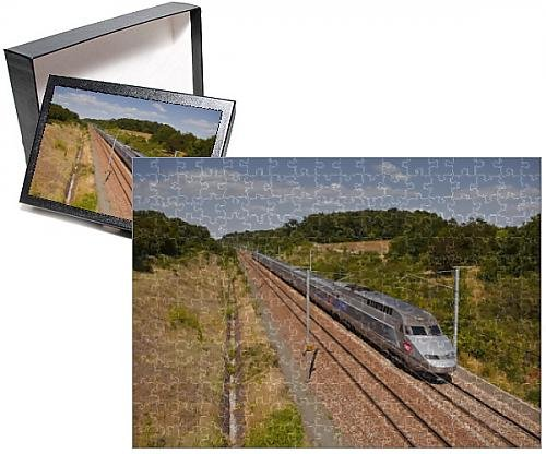 Photo Jigsaw Puzzle of A TGV train speeds through the French countryside near to Tours