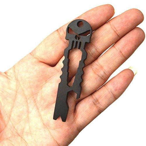 FEITONG Outdoor Edelstahl Schädel Multifunktion Süberlebens Taschen Werkzeug Öffner Schlüsselring (Black)