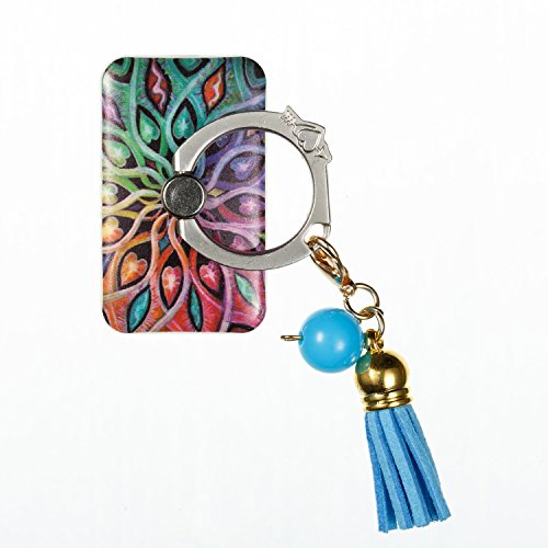 Price comparison product image Universal Phone Ring Bracket holder MEIQING Tassels Series Finger Grip Alloy Kickstand Ring Grip Hold For iphone 8 iphone X All Cellphone (colorful flower)
