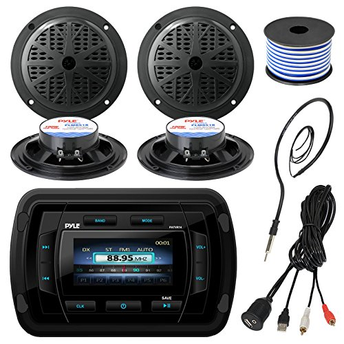 - Pyle PATVR14 MP3/MP5 Bluetooth Marine Boat Yacht Stereo Receiver Bundle Combo with 4X Black 5-1/4'' Dual Cone Waterproof Stereo Speaker + Enrock Radio Antenna + USB/AUX to RCA Cable +18G 50-FT Wire