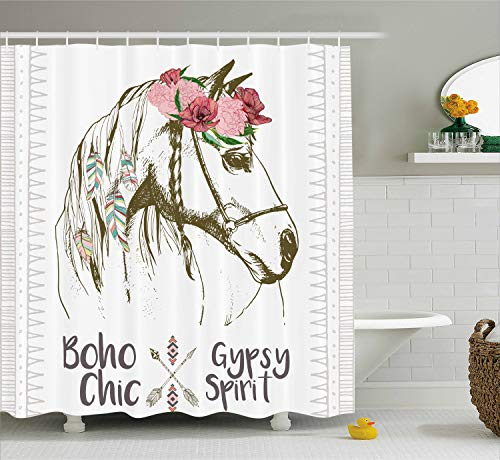 - Ambesonne Animal Shower Curtain, Boho Chic Style Horse Head Sketch with Flowers Colorful Feathers Gypsy Spirit, Fabric Bathroom Decor Set with Hooks, 75 Inches Long, Brown Pink Green