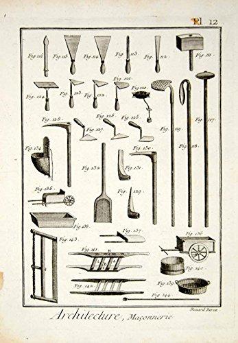 1779-copper-engraving-antique-stone-masonry-tools-trowel-shovel-pickax-cart-ddr2-original-copper-eng