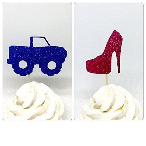 - Wheels or heels cupcake, Gender Reveal Cupcake Toppers, Gender Reveal Party, Gender Reveal Decor, baby shower cupcake 12ct