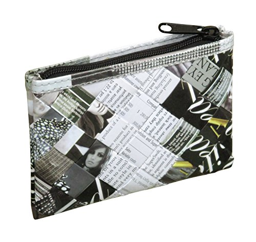 Zip coin purse made of office document paper - Free standard shipping - Upcycling by Milo