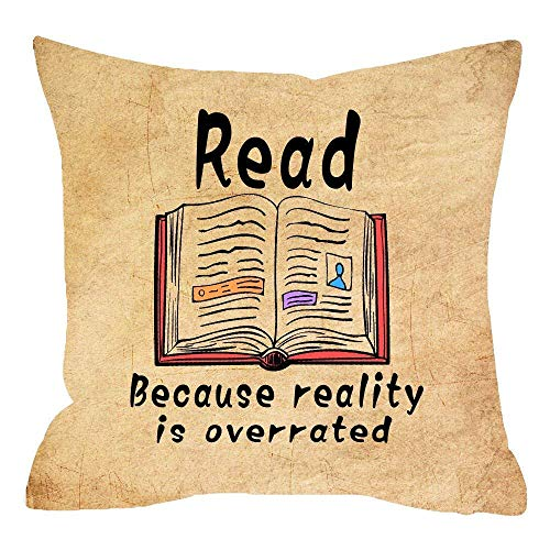 (Nice Gift Vintage Retro Backdrop Reading Lover With Quote Read Books Because Reality Is Overrated Cotton Linen Throw pillow case Cushion cover pillowcase for Sofa home decorative Square 18