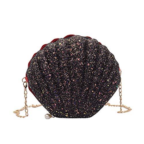 ForHe Sequins Leather Handbag Shoulder Crossbody Bag Lady Tote Messenger Satchel Purse With Chain,Seashell Shaped,Black (Ladies Shell Shaped Handbags)