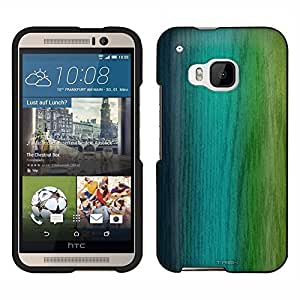 HTC One M9 Case, Snap On Cover by Trek Seaform Blue to Lime Green Ombre Mesh Wood Case