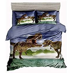 SxinHome 3D Tyrannosaurus Rex Dinosaur Bedding Set for Teen Boys, Duvet Cover Set,3pcs 1 Duvet Cover 2 Pillowcase(no Comforter inside), Full Size