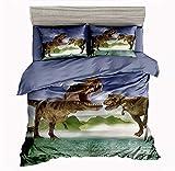 SxinHome 3D Tyrannosaurus Rex Dinosaur Bedding Set for Teen Boys, Duvet Cover Set,3pcs 1 Duvet Cover 2 Pillowcases(no Comforter inside), Queen Size