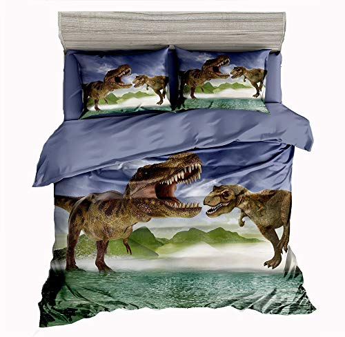 SxinHome 3D Tyrannosaurus Rex Dinosaur Bedding Set for Teen Boys, Duvet Cover Set,3pcs 1 Duvet Cover 2 Pillowcases(no Comforter inside), Queen Size ()