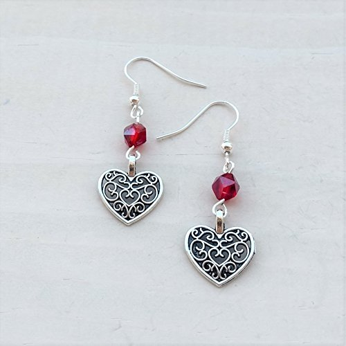 Silver-Tone Scroll Heart and Red Bead Earrings Jewelry Lightweight Fishhook Dangle Women's Earring (Tone Scroll)