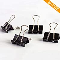 Coideal Extra Small Black Binder Clips 15mm Mini Metal Bulldog Paper Clips Clamp (60 Pack)