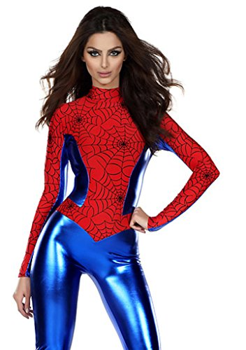 LOSTSS Womens Halloween Cosplay PU Leather One Piece Spiderman (Spiderman Costume For Women)