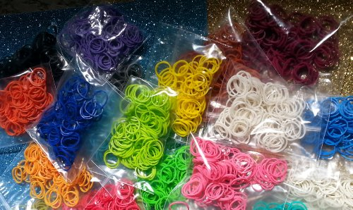 2100 Loom Rubber Bands, 100 of All 21 Colors in 21 Bags