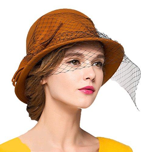 Maitose Trade; Women's Vintage Fedoras Wool Felt Veil Hat Orange by Maitose (Image #2)