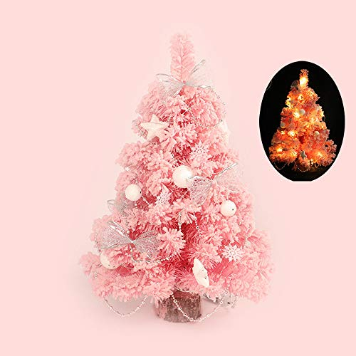 Wffo LED Creative Artificial Christmas Tree Holiday Indoor Xmas Home Tabletop Decor 30CM (Pink) ()