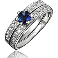 Blue Sapphire Couple Mother Daughter Ring Crystal CZ Wedding Band Promise Ring Set
