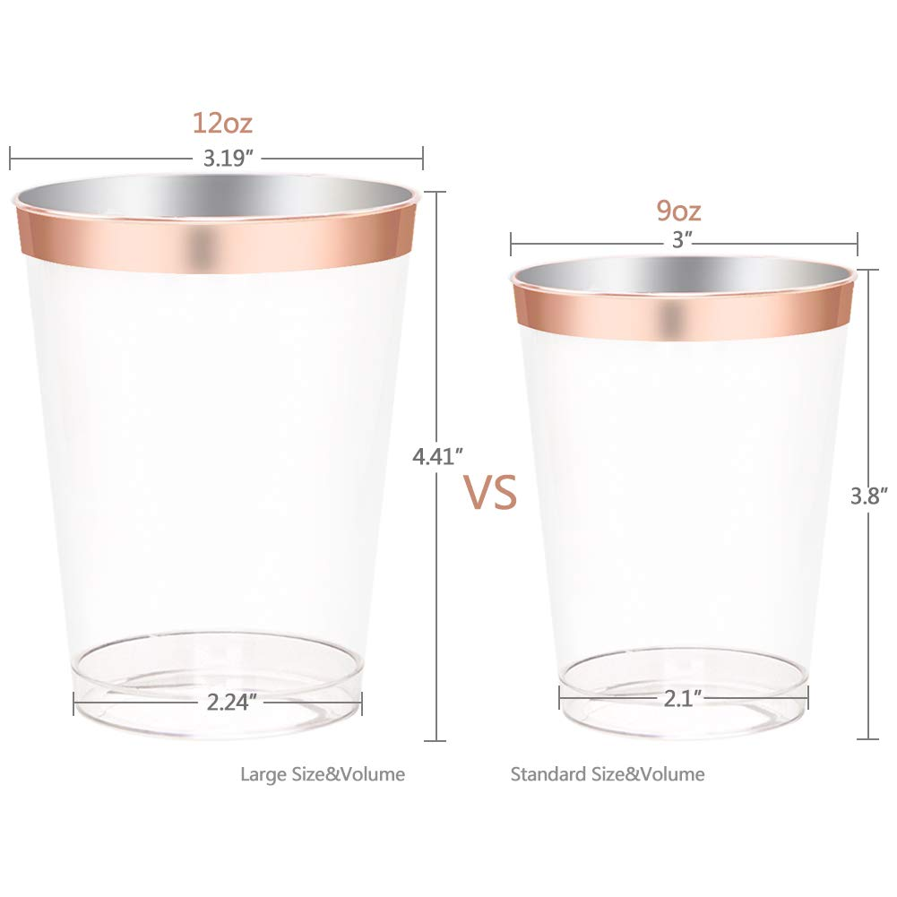 200 pieces Rose Gold Plastic Plates,Rose Gold Silverware, Rose Gold Cups, Linen Like Paper Napkins, Rose Gold Disposable Flatware, Enjoylife (Rose Gold, 200) by enjoylife (Image #3)