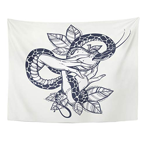 Emvency Tapestry Artwork Wall Hanging Eve's Hands with Forbidden Fruit and Snake Tattoo of Biblical Story Eve Vintage 60x80 Inches Tapestries Mattress Tablecloth Curtain Home Decor Print