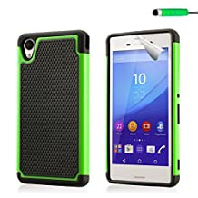 32nd® Shock proof dual defender case cover for Sony Xperia M4 Aqua + screen protector, cleaning cloth and touch stylus - Green