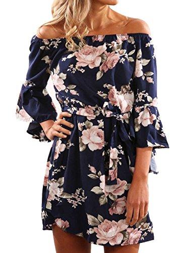 Beiläufige Schulter-Schulter Chiffon- Frauen beiläufiges 3/4 Hülsen-beiläufiges Kleid