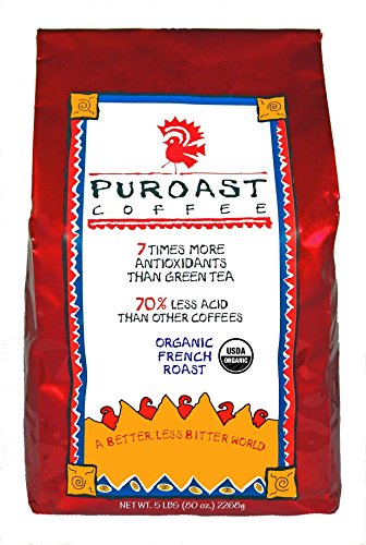 Puroast Low Acid Coffee Organic French Roast Whole Bean, 5-Pound Bag