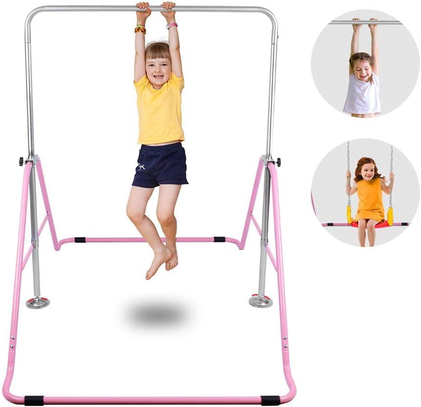 ONETWOFIT Gymnastics Expandable Junior Training Monkey Bars Climbing Tower Child Play Training Gym Pink OT128