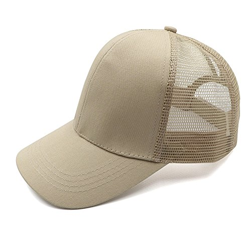 Womens Ponytail Messy High Buns Trucker Ponycaps Plain Baseball Visor Cap Dad Hat Adjustable ()
