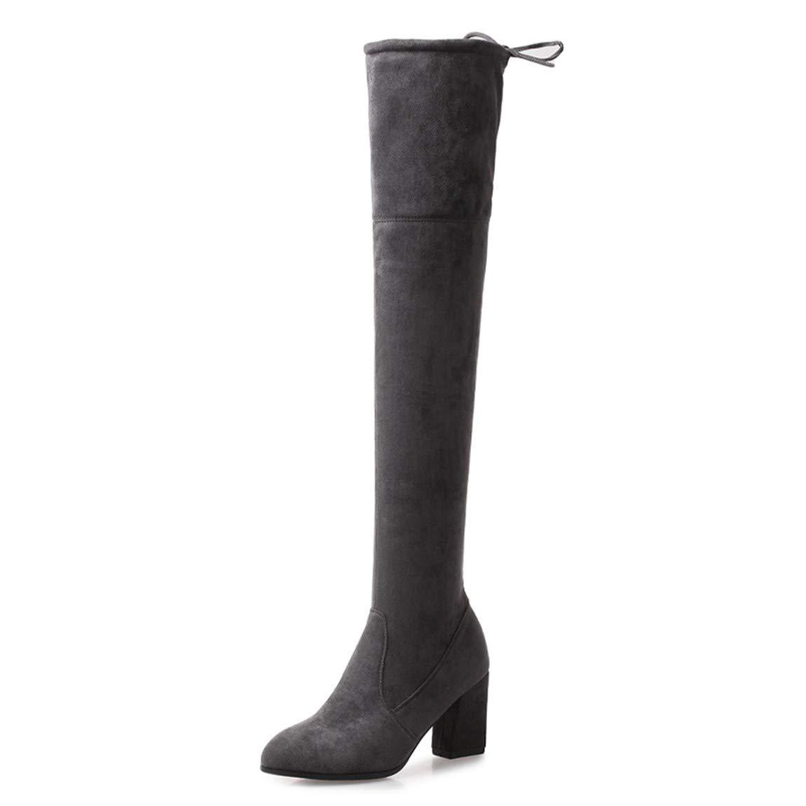 Cute girl Stiefel Dicke Frauen Mit Langen Stiefel Hohe Rohr Plus Velvet'S Größe Code Komfortable Dünne Elastische Stiefel Grau