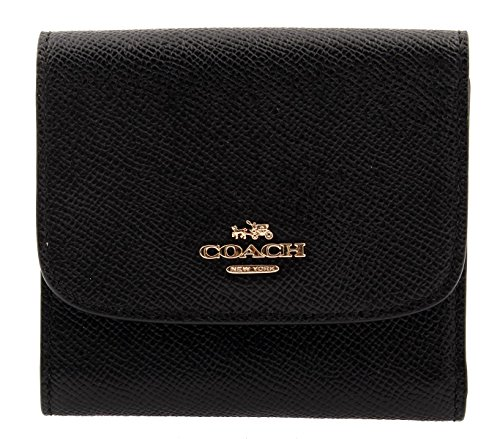 Coach Woman's Crossgrain Leather Small Wallet (Black) ()