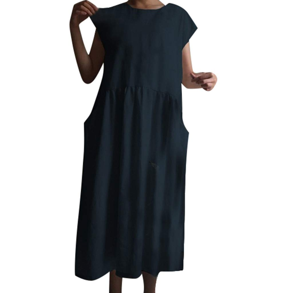 Women's Cotton Linen Dresses Cap Sleeve Summer Maxi O Neck Dress with Pockets Navy