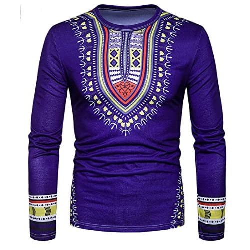 Cheap Cruiize Mens Round Neck Ethnic Style African Print Slim Top Tee T-Shirt hot sale