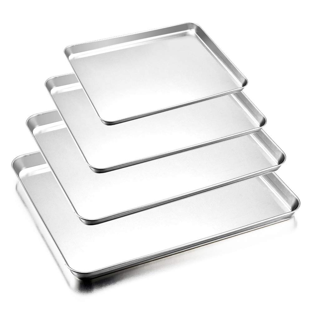Baking Sheets Pan Set of 4, E-far Stainless Steel Toaster Oven Tray Pan Cookie Sheet, Non Toxic & Healthy, Rust Free & Sturdy, Mirror Polished & Easy Clean, Dishwasher Safe - 4 Pieces B07CJ32NTZ