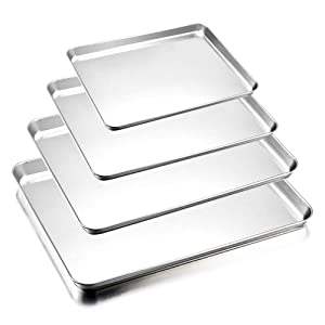 Baking Sheets Set of 4, E-far Stainless Steel Rimmed Toaster Oven Tray Pan Cookie Sheet, Non Toxic & Healthy, Rust Free & Easy Clean, Dishwasher Safe - 4 Pieces