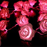 Fairy String Lights Pink Rose Flower 20 LED Battery Operated Decorative Light for Wedding Valentine's Day Dreamlike Party Girl's Bedroom