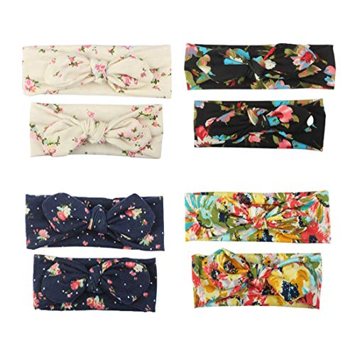 8 Pack Mommy and Me Headbands Hair Band Bow Knot Headbands Baby Hair Accessories Turban Baby and Mommy Cotton Headwrap Set (PH0109)