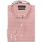 Mens 100% Giza Cotton White & Red Checkered Shirt for Formal & Casual Wear