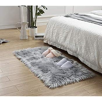 Gray Sheepskin Ruf SALE Silver Gray Shag Area Rug Carpet Rectangle Faux Fur