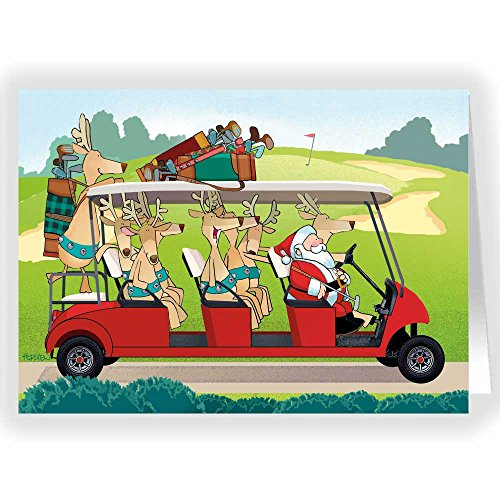 Christmas Golf Cart Holiday Card - 18 Cards & Envelopes